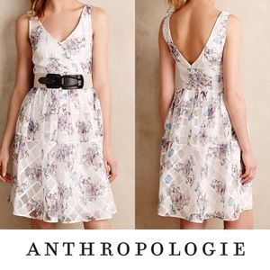 Anthropologie Maeve Peony Windowpane Dress